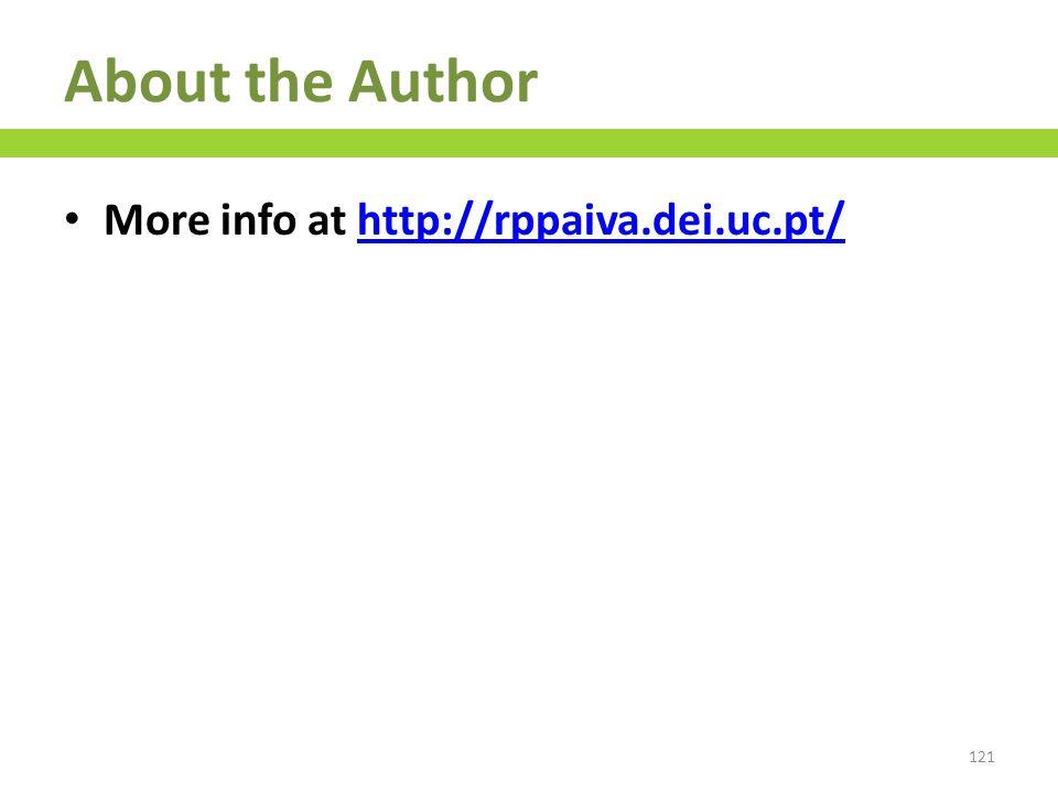 More info at http://rppaiva.dei.uc.pt/http://rppaiva.dei.uc.pt/ 121