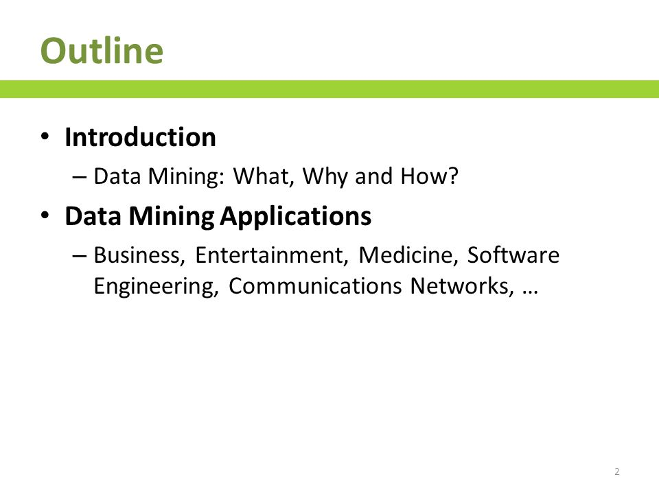 Outline Data Mining Process – Data acquisition, pre-processing, feature extraction and processing, feature ranking/selection, feature reduction, model learning, evaluation, deployment Acknowledgments About the Author 3
