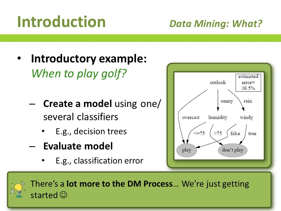 DM Process Data Pre-Processing Goals – Data preparation prior to analysis E.g., noise filtering, data cleansing, … 67