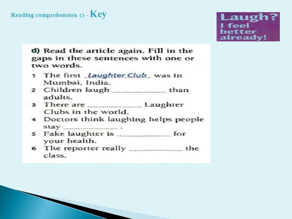 Reading comprehension c) - Key