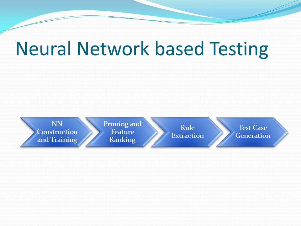 Neural Network based Testing NN Construction and Training Pruning and Feature Ranking Rule Extraction Test Case Generation