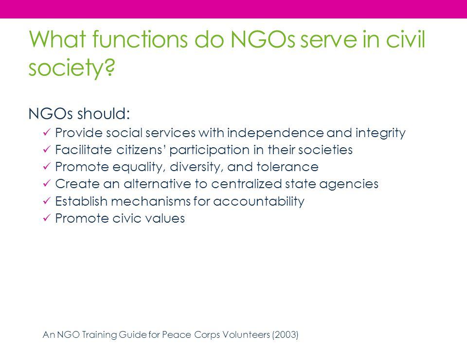 What functions do NGOs serve in civil society? NGOs should: Provide social services with independence and integrity Facilitate citizens' participation
