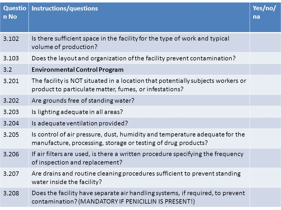 Questio n No Instructions/questionsYes/no/ na 3.102Is there sufficient space in the facility for the type of work and typical volume of production? 3.