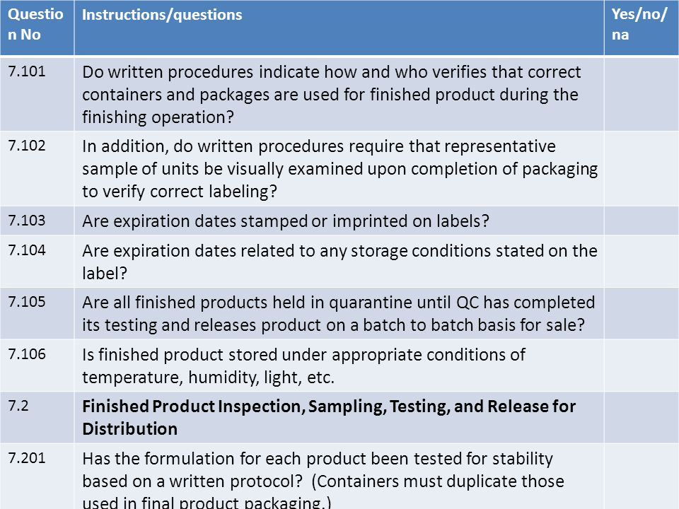 Questio n No Instructions/questionsYes/no/ na 7.101 Do written procedures indicate how and who verifies that correct containers and packages are used