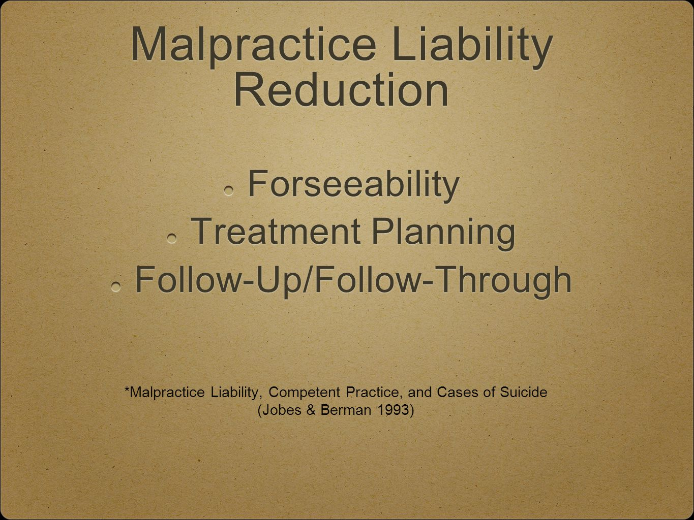 Malpractice Liability Reduction Forseeability Treatment Planning Follow-Up/Follow-Through *Malpractice Liability, Competent Practice, and Cases of Suicide (Jobes & Berman 1993)