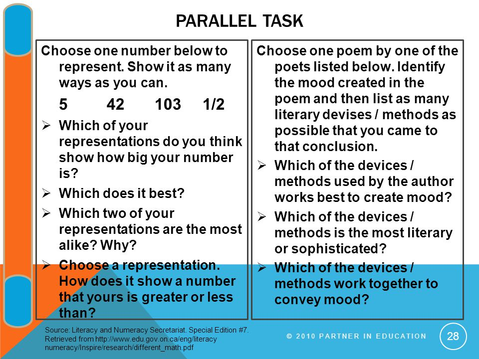 PARALLEL TASK Choose one number below to represent.