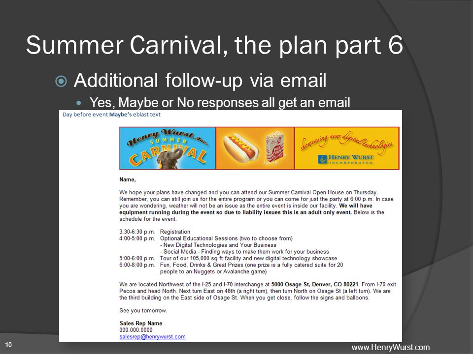 Summer Carnival, the plan part 6  Additional follow-up via email Yes, Maybe or No responses all get an email 10 www.HenryWurst.com