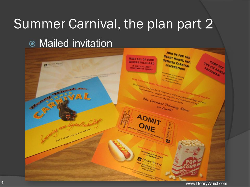 Summer Carnival, the plan part 2  Mailed invitation 4 www.HenryWurst.com