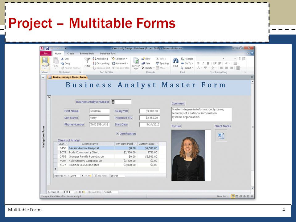 Click the Title button (Form Design Tools Design tab | Header/Footer group) to add a title to the form Multitable Forms25 Adding a Title