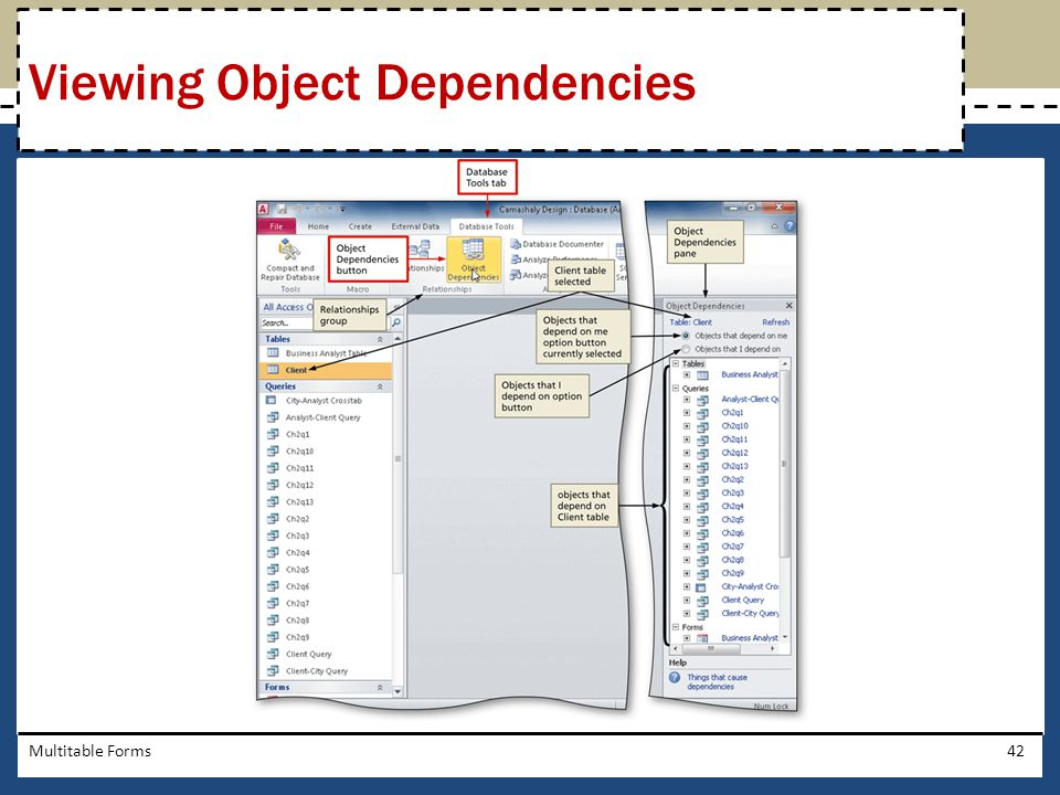 Multitable Forms42 Viewing Object Dependencies