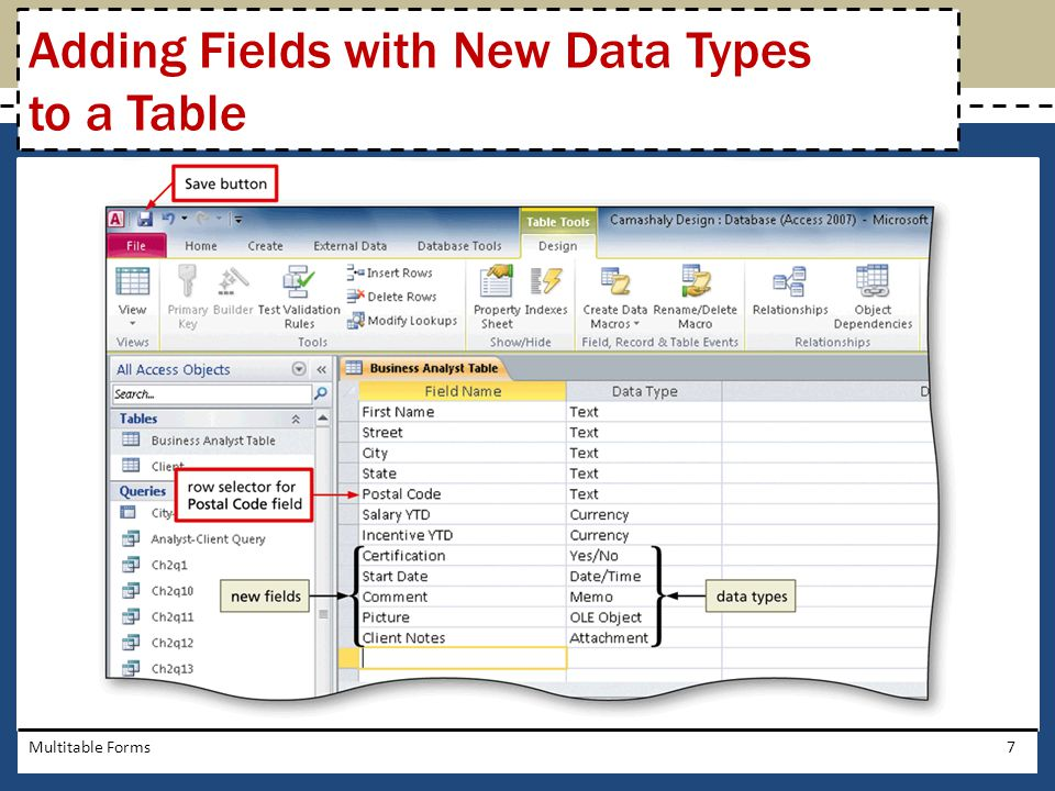 Multitable Forms7 Adding Fields with New Data Types to a Table