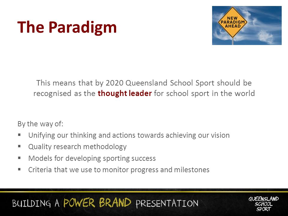The Paradigm This means that by 2020 Queensland School Sport should be recognised as the thought leader for school sport in the world By the way of:  Unifying our thinking and actions towards achieving our vision  Quality research methodology  Models for developing sporting success  Criteria that we use to monitor progress and milestones