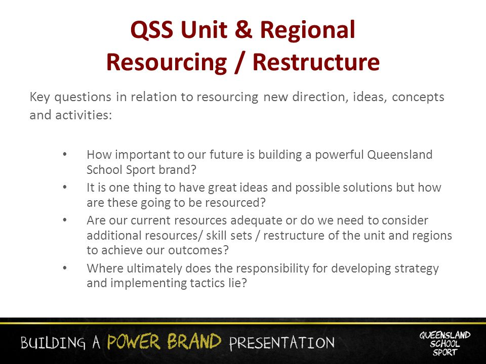 QSS Unit & Regional Resourcing / Restructure Key questions in relation to resourcing new direction, ideas, concepts and activities: How important to our future is building a powerful Queensland School Sport brand.