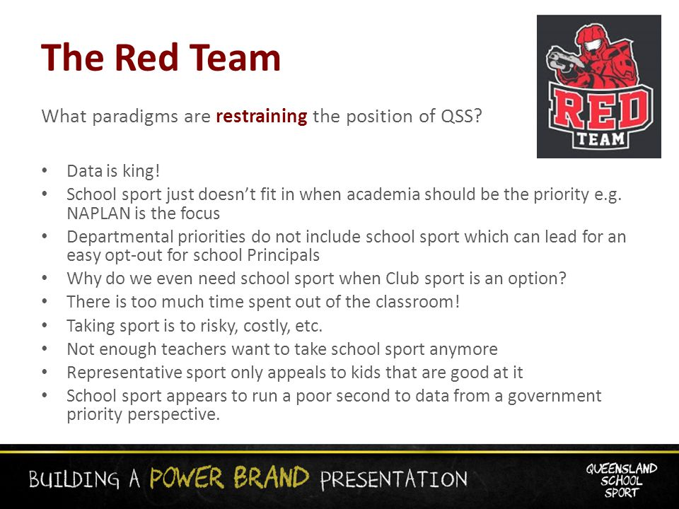 The Red Team What paradigms are restraining the position of QSS.