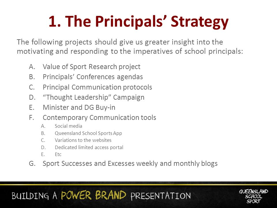 1. The Principals' Strategy The following projects should give us greater insight into the motivating and responding to the imperatives of school prin
