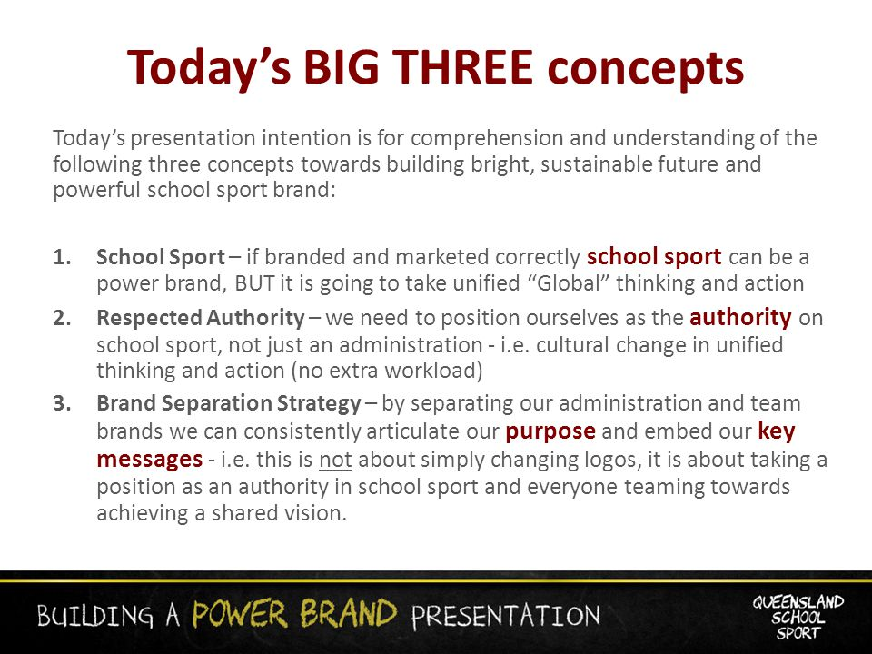 Today's BIG THREE concepts Today's presentation intention is for comprehension and understanding of the following three concepts towards building bright, sustainable future and powerful school sport brand: 1.School Sport – if branded and marketed correctly school sport can be a power brand, BUT it is going to take unified Global thinking and action 2.Respected Authority – we need to position ourselves as the authority on school sport, not just an administration - i.e.