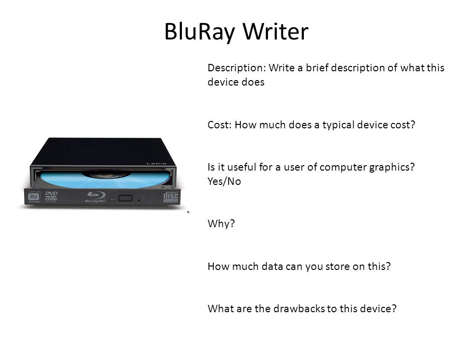 BluRay Writer Description: Write a brief description of what this device does Cost: How much does a typical device cost? Is it useful for a user of co