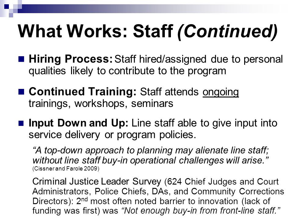 What Works: Staff (Continued) Hiring Process: Staff hired/assigned due to personal qualities likely to contribute to the program Continued Training: S