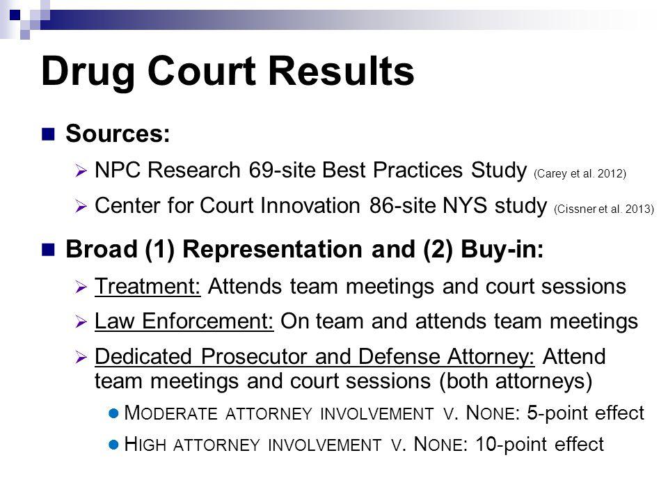 Drug Court Results Sources:  NPC Research 69-site Best Practices Study (Carey et al.