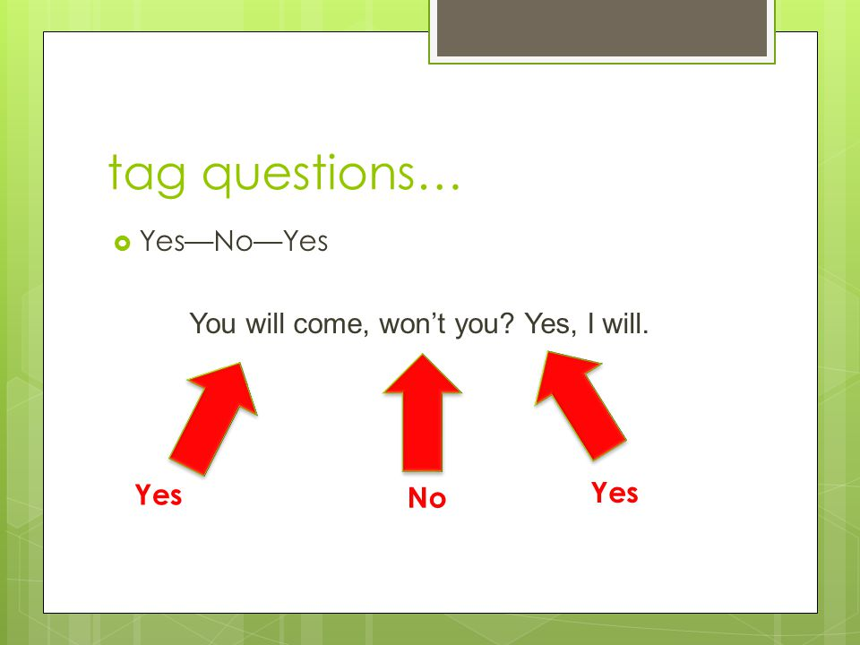 tag questions…  Yes—No—Yes You will come, won't you? Yes, I will. Yes No Yes