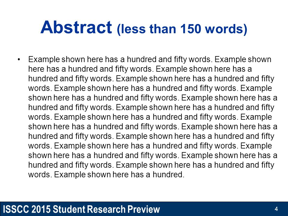 ISSCC 2015 Student Research Preview Abstract (less than 150 words) Example shown here has a hundred and fifty words. Example shown here has a hundred