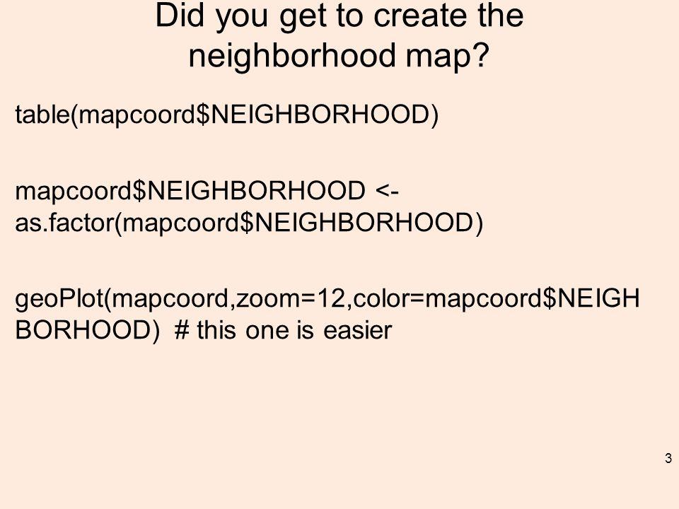 Did you get to create the neighborhood map.