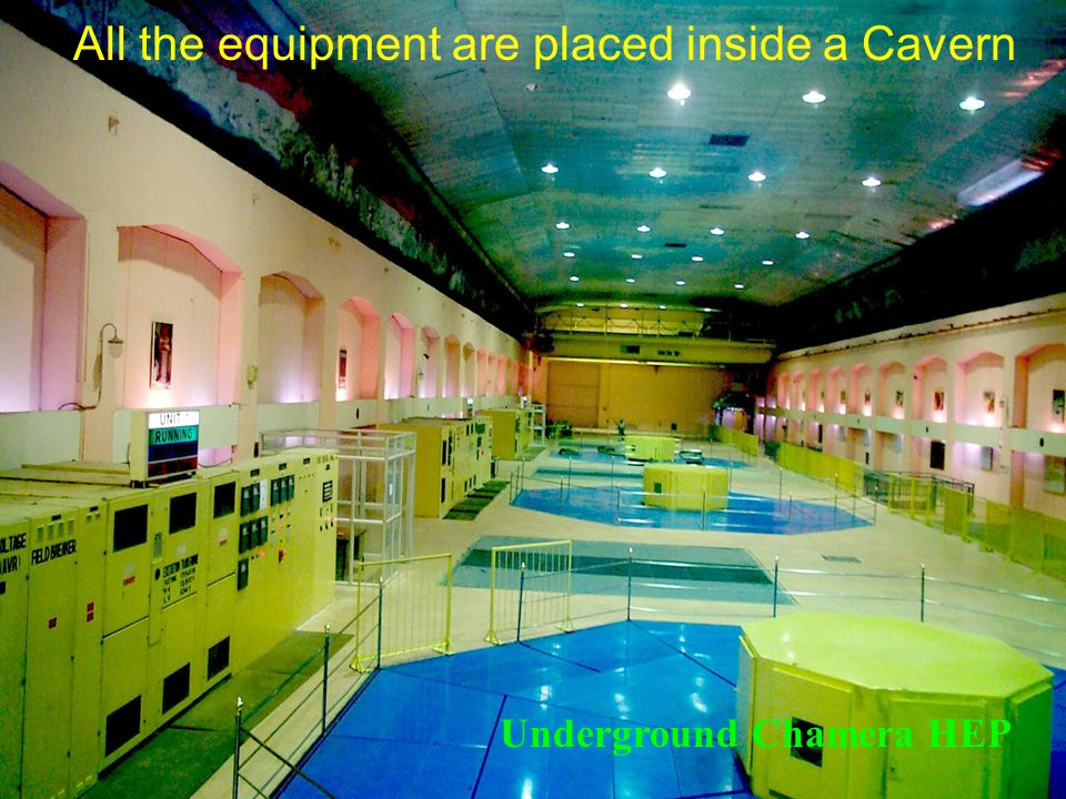 All the equipment are placed inside a Cavern Underground Chamera HEP