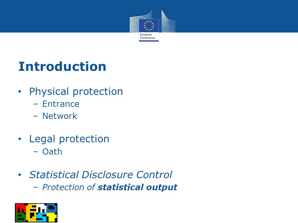 Introduction Physical protection –Entrance –Network Legal protection –Oath Statistical Disclosure Control –Protection of statistical output