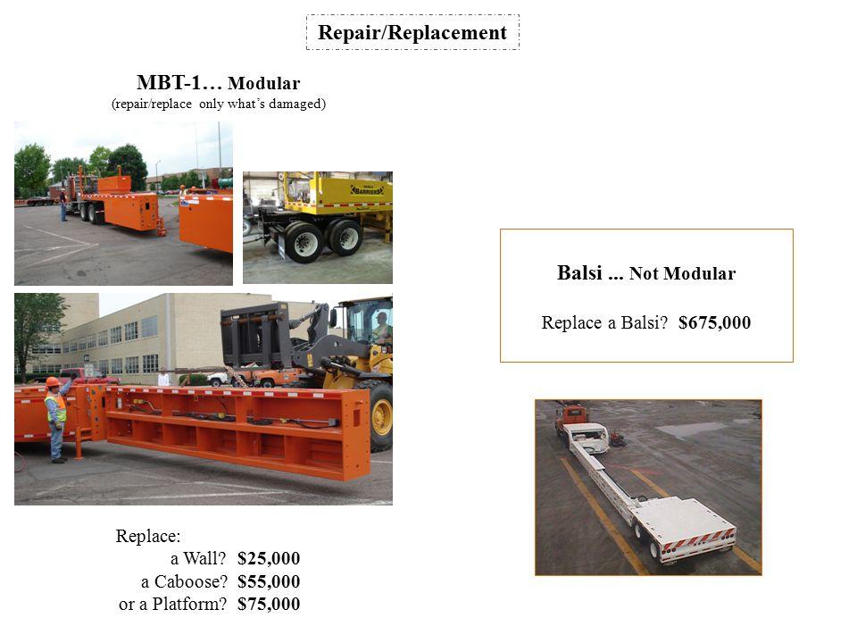 MBT-1… Modular (repair/replace only what's damaged) Repair/Replacement Balsi...