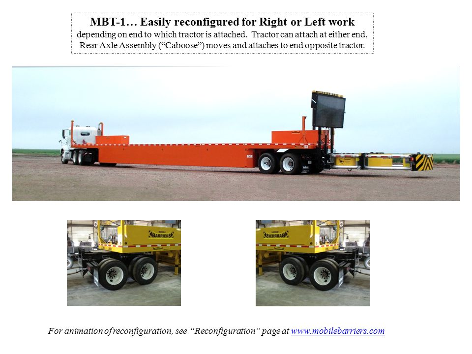 MBT-1… Easily reconfigured for Right or Left work depending on end to which tractor is attached.