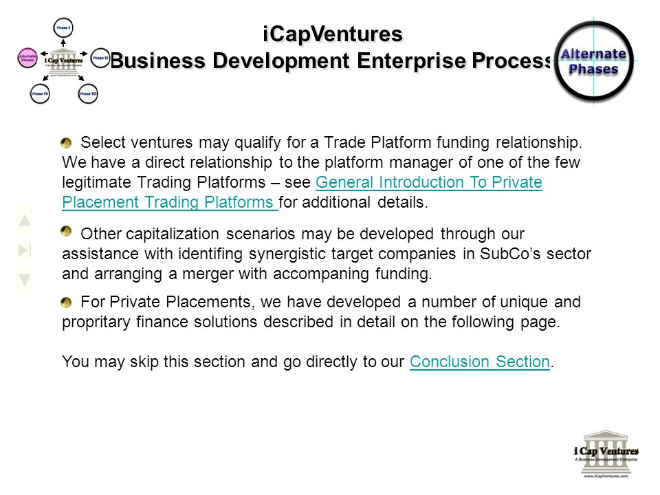 iCapVentures Business Development Enterprise Process Select ventures may qualify for a Trade Platform funding relationship. We have a direct relations