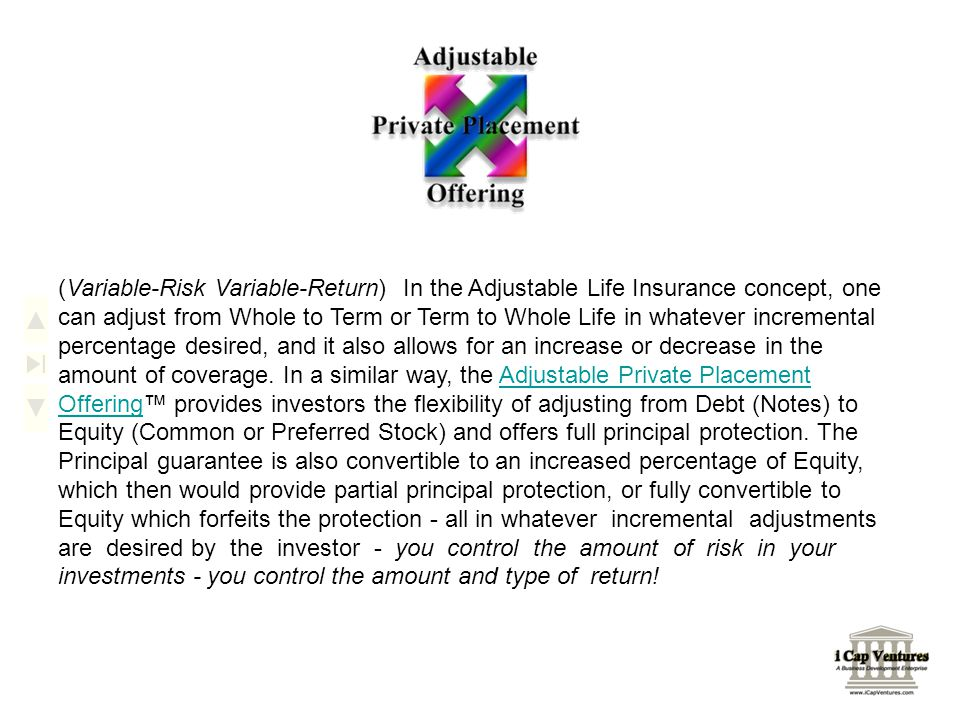 (Variable-Risk Variable-Return) In the Adjustable Life Insurance concept, one can adjust from Whole to Term or Term to Whole Life in whatever incremen