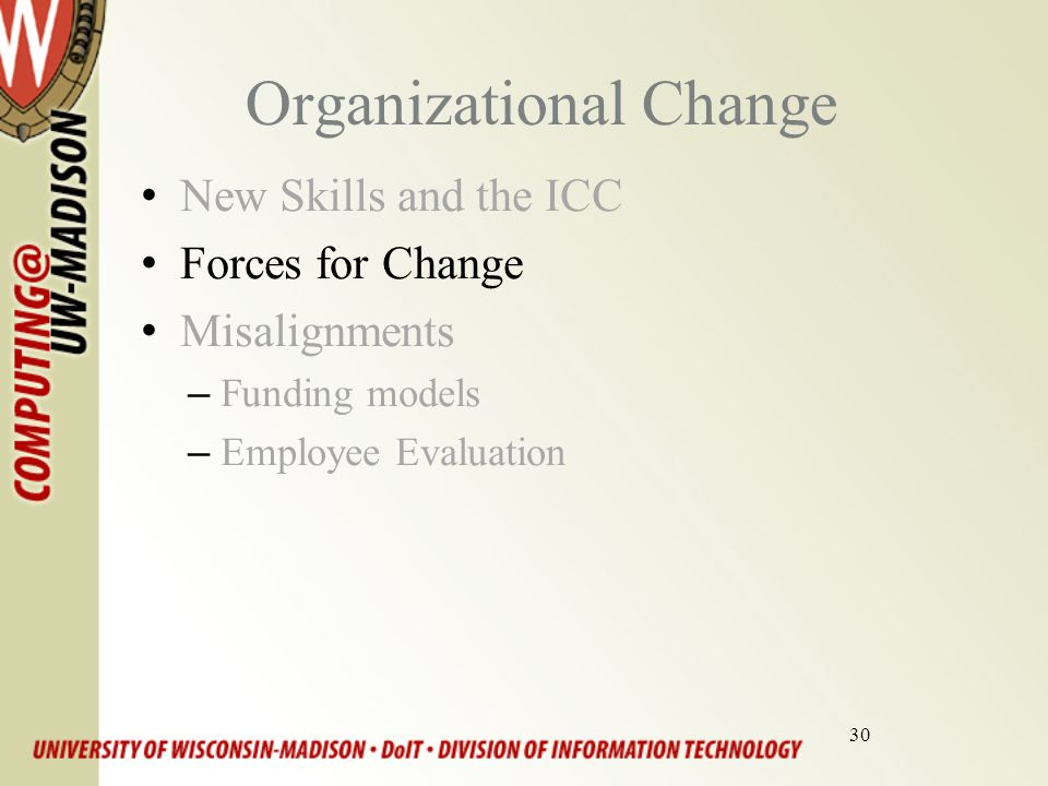 30 Organizational Change New Skills and the ICC Forces for Change Misalignments –Funding models –Employee Evaluation
