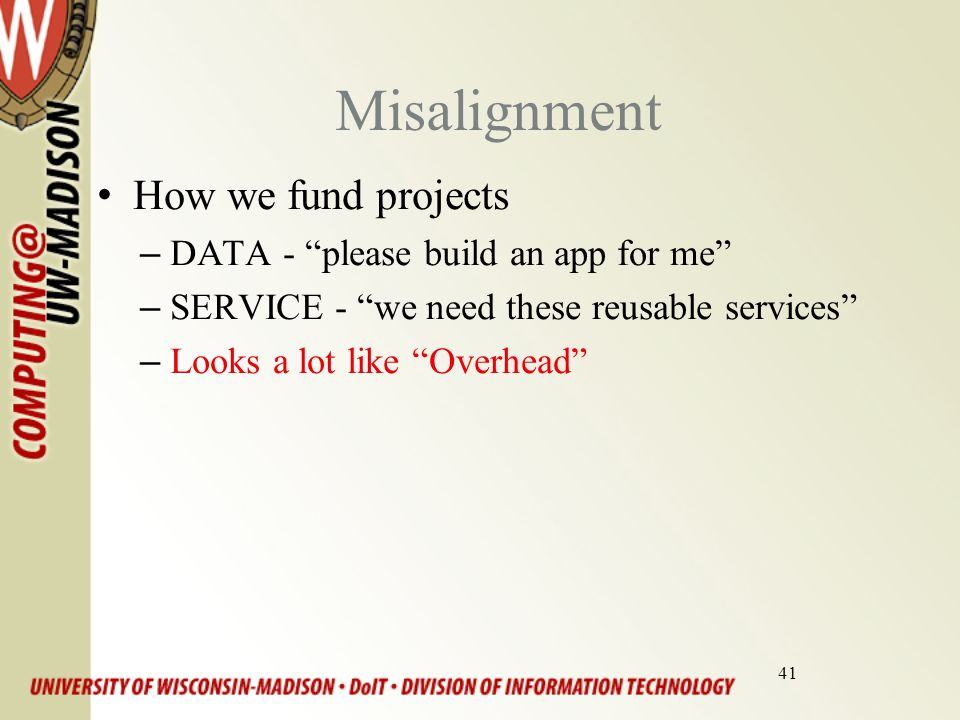 41 Misalignment How we fund projects –DATA - please build an app for me –SERVICE - we need these reusable services –Looks a lot like Overhead