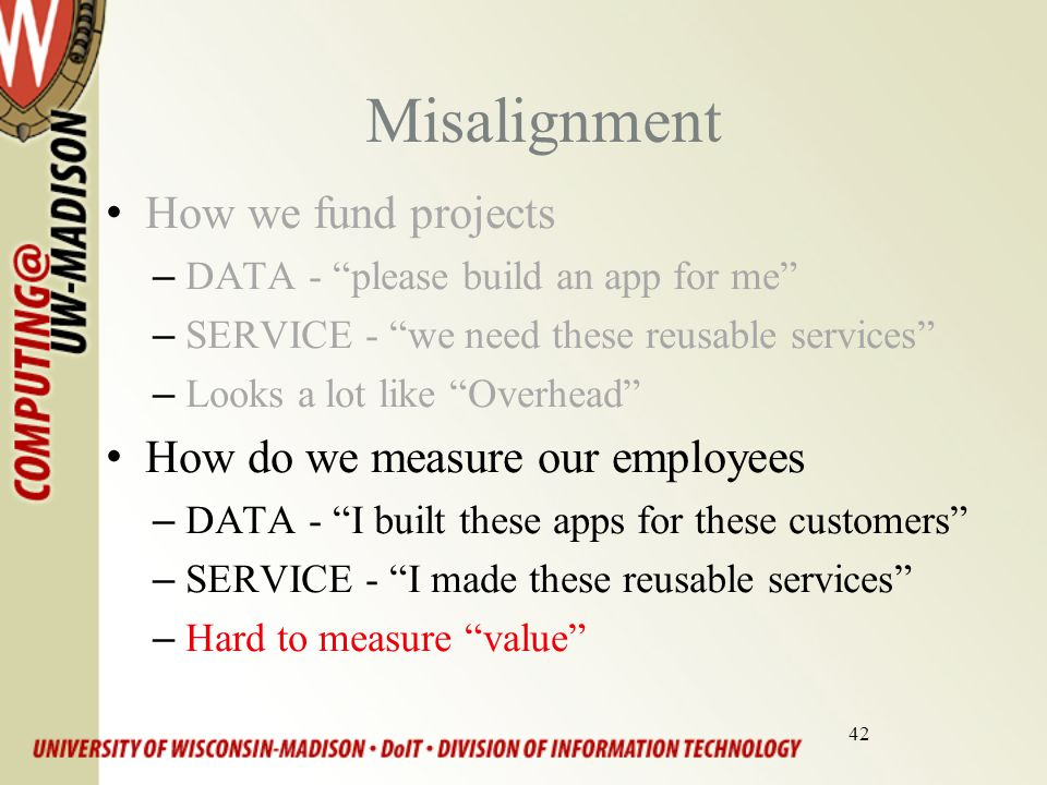 42 Misalignment How we fund projects –DATA - please build an app for me –SERVICE - we need these reusable services –Looks a lot like Overhead How do we measure our employees –DATA - I built these apps for these customers –SERVICE - I made these reusable services –Hard to measure value