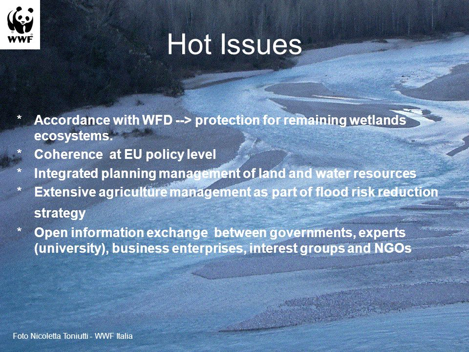 Hot Issues *Accordance with WFD --> protection for remaining wetlands ecosystems.