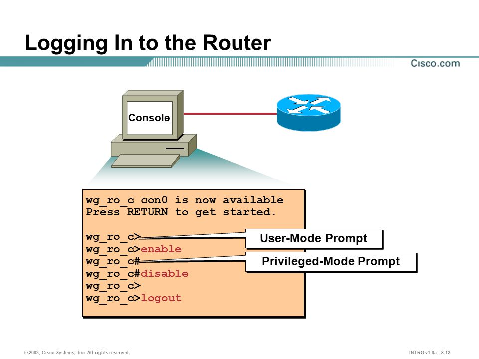 INTRO v1.0a—8-12 © 2003, Cisco Systems, Inc. All rights reserved. Logging In to the Router wg_ro_c con0 is now available Press RETURN to get started.
