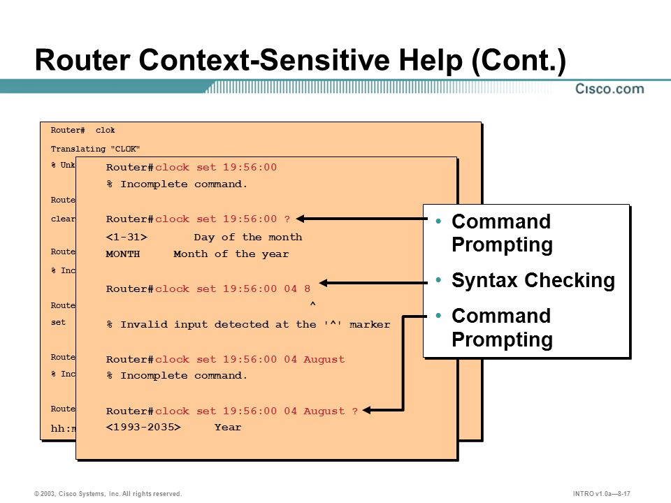 INTRO v1.0a—8-17 © 2003, Cisco Systems, Inc. All rights reserved. Router Context-Sensitive Help (Cont.) Router# clok Translating
