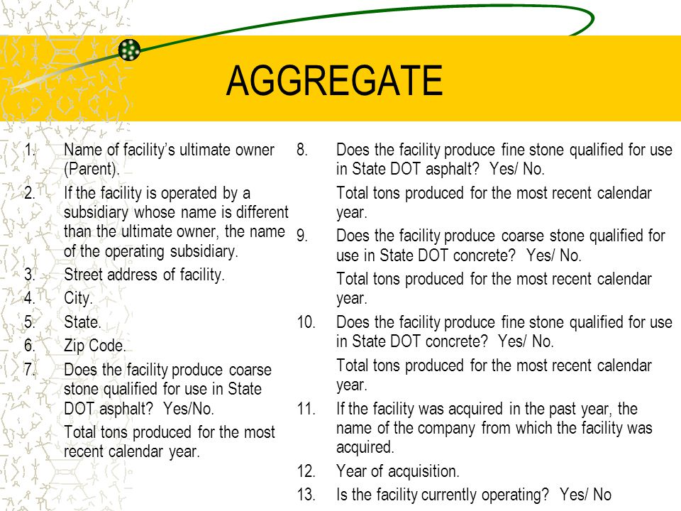 AGGREGATE 1.Name of facility's ultimate owner (Parent).