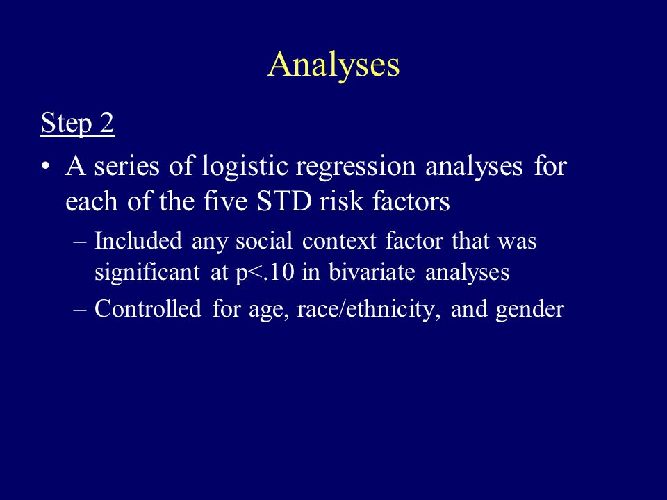 Analyses Step 2 A series of logistic regression analyses for each of the five STD risk factors –Included any social context factor that was significant at p<.10 in bivariate analyses –Controlled for age, race/ethnicity, and gender