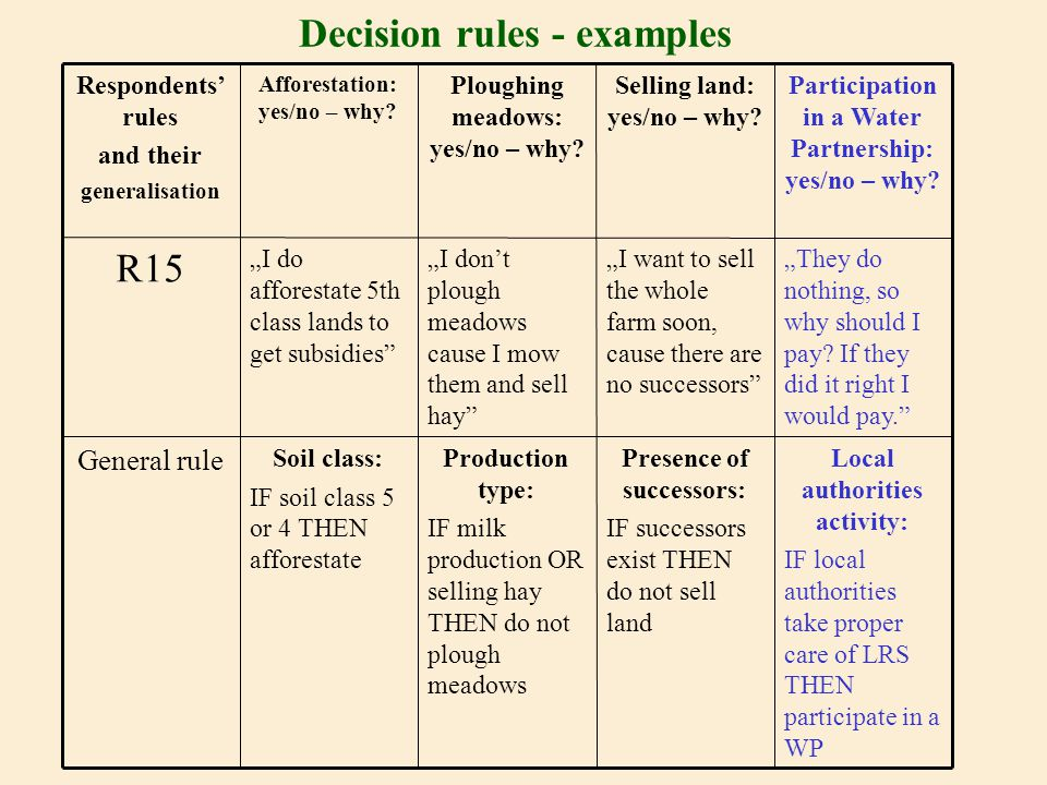 "Decision rules - examples Local authorities activity: IF local authorities take proper care of LRS THEN participate in a WP Presence of successors: IF successors exist THEN do not sell land Production type: IF milk production OR selling hay THEN do not plough meadows Soil class: IF soil class 5 or 4 THEN afforestate General rule ""They do nothing, so why should I pay."