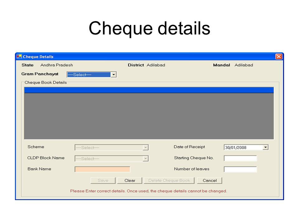 Cheque details