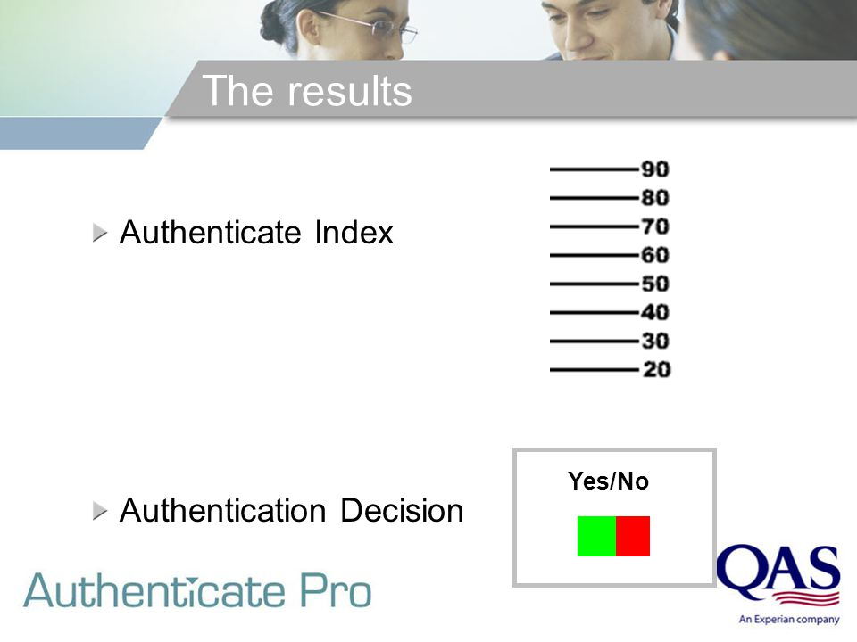 The results Authenticate Index Authentication Decision Yes/No