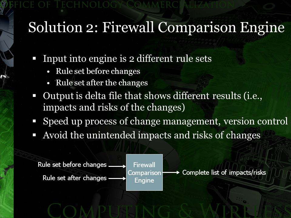 Solution 2: Firewall Comparison Engine  Input into engine is 2 different rule sets Rule set before changes Rule set after the changes  Output is delta file that shows different results (i.e., impacts and risks of the changes)  Speed up process of change management, version control  Avoid the unintended impacts and risks of changes Firewall Comparison Engine Rule set before changes Rule set after changes Complete list of impacts/risks