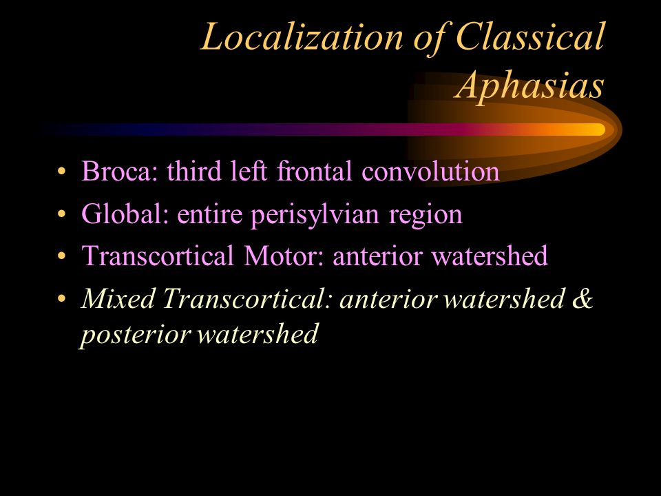 Localization of Classical Aphasias Broca: third left frontal convolution Global: entire perisylvian region Transcortical Motor: anterior watershed Mix
