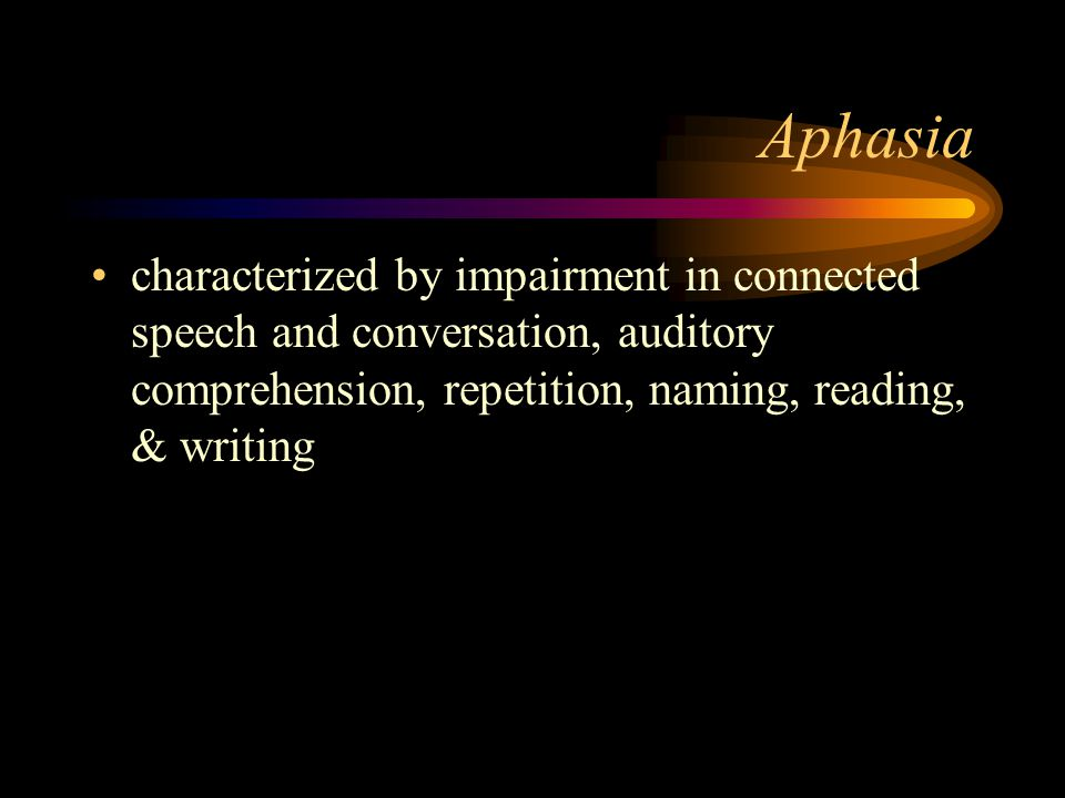 Aphasia characterized by impairment in connected speech and conversation, auditory comprehension, repetition, naming, reading, & writing