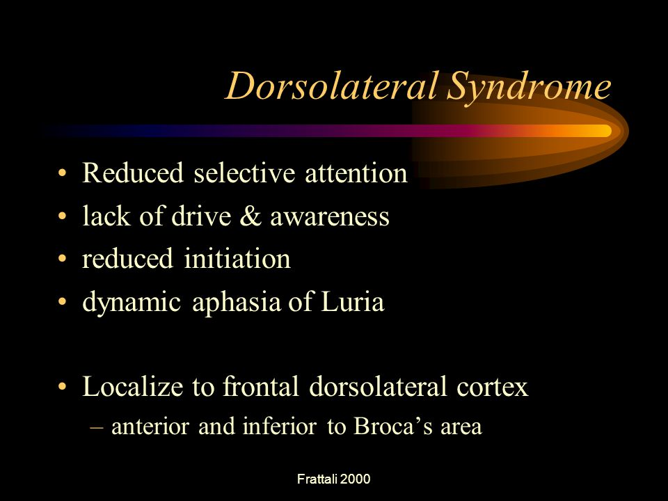 Frattali 2000 Dorsolateral Syndrome Reduced selective attention lack of drive & awareness reduced initiation dynamic aphasia of Luria Localize to frontal dorsolateral cortex –anterior and inferior to Broca's area