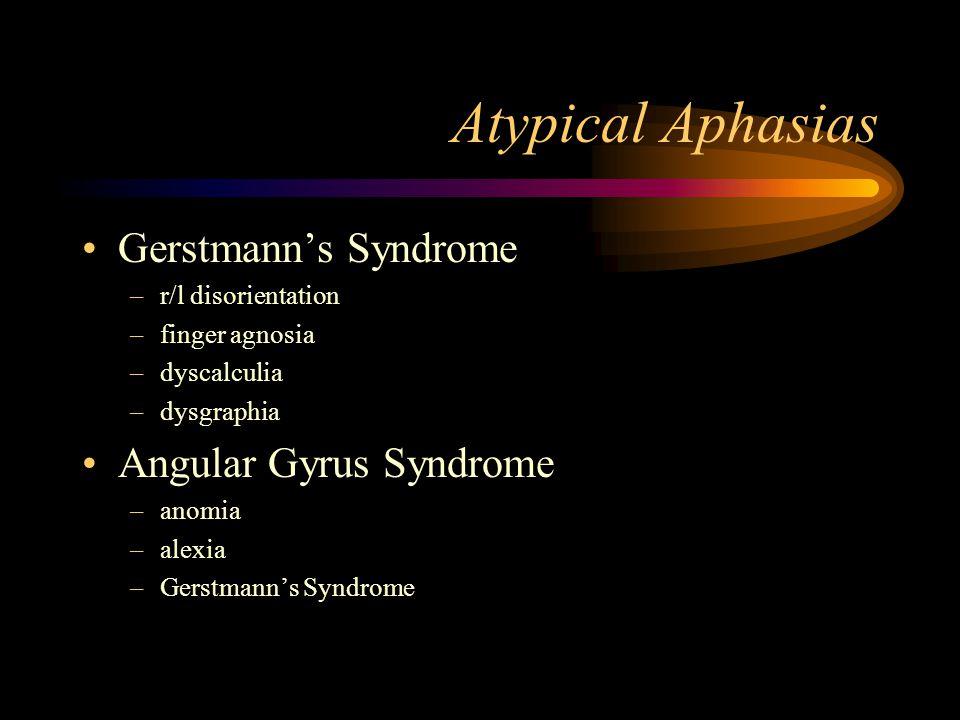 Atypical Aphasias Gerstmann's Syndrome –r/l disorientation –finger agnosia –dyscalculia –dysgraphia Angular Gyrus Syndrome –anomia –alexia –Gerstmann's Syndrome
