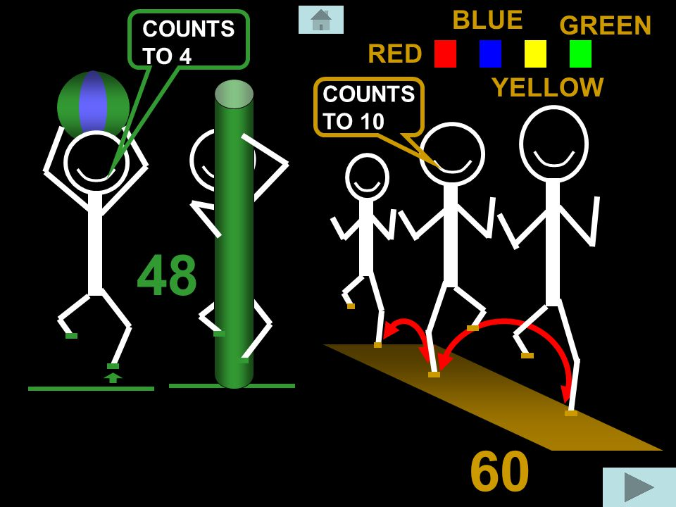 48 60 RED BLUE GREEN YELLOW COUNTS TO 10 COUNTS TO 4