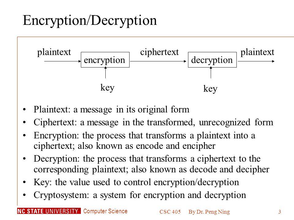 Computer Science CSC 405By Dr.Peng Ning24 Secret Keys v.s.
